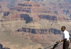 President Obama takes in the view at Grand Canyon National Park in Arizona on Sunday. Obama said the last time he'd visited the park was when he was 11 years old.