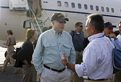 Sen. John McCain, center, is received by the U.S. Ambassador to Yemen Stephen Seche, right, on his arrival at the airport in the capital San'a, Yemen, on Sunday. A delegation of U.S. senators led by John McCain is visiting a number of Middle East countries.