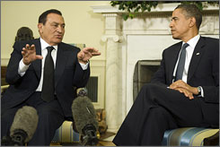 Egyptian President Hosni Mubarak meets with President Obama at the White House on Tuesday.