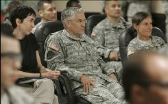 Army Chief of Staff Gen. George Casey, center, sits in on a Battlemind Basic Training class during a tour Thursday at Fort Jackson, S.C. The Army's top general says the service will begin a new training program Oct. 1 to help soldiers deal with the stress of combat and to prevent suicides.