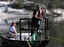 Two USGS scientists analyze fish for mercury in the St. Marys River in northern Florida.