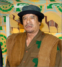 New Jersey residents are trying to block Libyan leader Moammar Gadhafi, seen here at a global conference in Sharm El Sheikh, Egypt, in July, from staying in Englewood, N.J., during a trip to the United States next month.