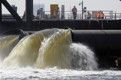 The pumps put in by the Army Corps of Engineers take water from New Orleans' 17th Street Canal to Lake Pontchartrain and are supposed to help control water levels in drainage canals.