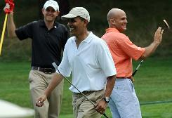 President Obama leaves Mink Meadows Golf Course on Tuesday in Vineyard Haven, Mass. Just before the outing, Obama appeared with Fed chief Ben Bernanke to renominate him.