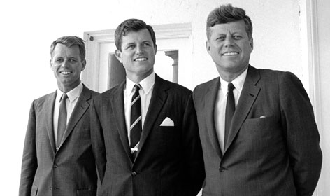 U.S. President John F. Kennedy, right, is pictured with his brothers, Sen. Edward Kennedy, center, and Attorney General Robert F. Kennedy, outside the Oval Office at the White House in this picture taken in August 1963.