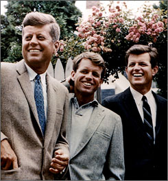 John, Robert, and Edward Kennedy are pictured in Hyannisport, Massachusetts, in a photo taken in July 1960.