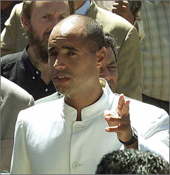Seif-el Islam Gadhafi, son of Libyan leader Moammar Gadhafi, talks in Tripoli, Libya in this 2000 photo.