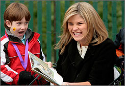 School teacher and former president George W. Bush's daughter Jenna reads from Where the Wild Things Are during the annual Easter Egg Roll at the White House in 2008.