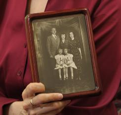 Author Deborah Tannen holds a telling family portrait: Naomi, the oldest of the three, stands with her parents, while Deborah, right, and Mimi, just 23 months apart, sit in front.