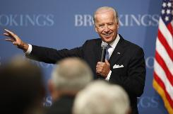 Vice President Biden answers a question while speaking about the economy and the American Recovery and Reinvestment Act on Thursday  at the Brookings Institution in Washington.
