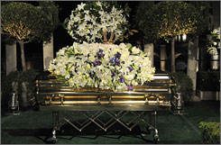 Michael Jackson's casket rests during the funeral service held at Glendale Forest Lawn Memorial Park on Thursday night in Glendale, Calif.