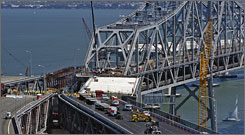 A replacement section connects the detour route during the San Francisco-Oakland Bay Bridge seismic retrofit.
