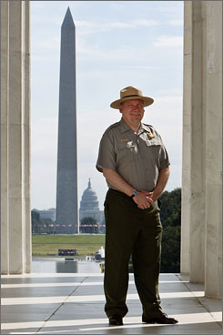 National Mall Superintendent John Piltzecker stands at the Lincoln Memorial in Washington, D.C.