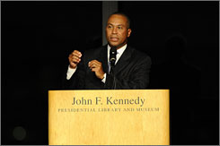 Massachusetts Gov. Deval Patrick speaks at a memorial for U.S. Sen. Edward Kennedy at the John F. Kennedy Library in Boston.