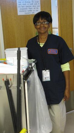 June Logan, 59, has been a housekeeper at the University of Virginia Medical Center emergency room for a year.