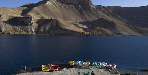Swan paddle boats sit at the edge of one of the six lakes in Band-e-Amir, which was declared Afghanistan's first national park on April 22. Its new designation allows Afghanistan to apply for international recognition of Band-e-Amir as a UNESCO World Heritage site.