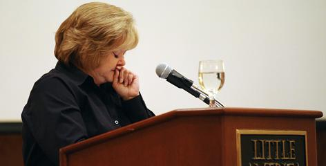 Judy Shepard becomes emotional while talking about her son Matthew at the Wyoming Victim Services Conference in Cheyenne, Wyo., last month. Shepard gives about 50 speeches a year.