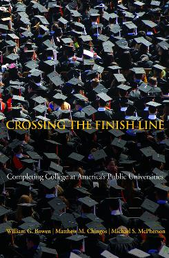 The cover of the book Crossing the Finish Line: Completing College at America's Public Universities, which argues that some students don't graduate not because they face too many academic challenges, but too few.