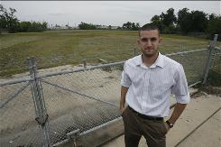 High school teacher Brian Bordainick, 24, is leading a citywide rally to build a 1,000-seat football stadium for the students at G.W. Carver Senior High School in the 9th Ward