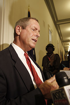 "Rep. Joe Wilson, R-S.C., speaks to reporters Thursday, the day after shouting ""You lie!"" during the president?s address."
