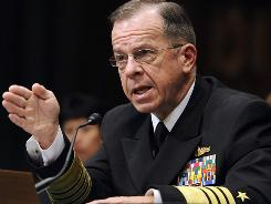 Joint Chiefs Chairman Adm. Michael Mullen testifies before the Senate Armed Services Committee hearing on his reappointment.