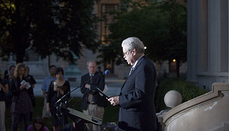 Rev. Dennis Smith reads a statement Tuesday at Yale, in New Haven, Conn., on behalf of the family of 24-year-old Annie Le whose body was found hidden in a basement wall Sunday, on what would have been her wedding day.