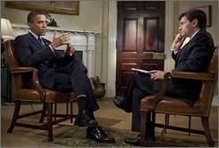 ABC's This Week host George Stephanopoulos interviews President Obama in the Roosevelt Room of the White House on Friday.