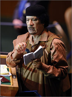 Libyan leader Moammar Gadhafi addresses the 64th General Assembly at U.N. headquarters Wednesday.