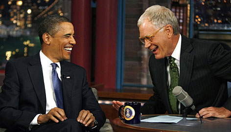 President Obama was the sole guest on David Letterman's Late Show on Monday.