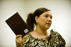 "Pastor Gladys Mejias-Ashmore leads a Spanish-language Bible study at Vino Nuevo Church in Virginia Beach, Va., where she has been combatting cultural ""machismo"" attitudes that make women subservient to men."