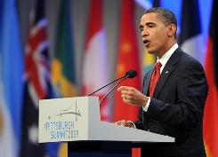 President Obama speaks at a news conference Friday at the end of the G-20 Summit in Pittsburgh.