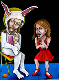 "Washington artist Dana Ellyn displayed ""Silly Rabbit, Myths are for Kids"" and other paintings as part of International Blasphemy Day."