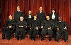 Justices of the Supreme Court: In the front row, from the left, are Anthony Kennedy, John Paul Stevens, Chief Justice John Roberts, Antonin Scalia and Clarence Thomas. In the back are Samuel Alito, Ruth Bader Ginsburg, Stephen Breyer and Sonia Sotomayor.
