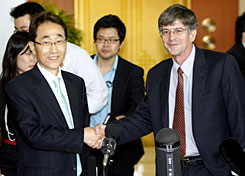 U.S. Deputy Secretary of State James Steinberg, right, meets with South Korean Vice Foreign Minister Kwon Jong-rak in Seoul on Wednesday to discuss North Korea.