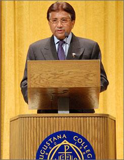 Former Pakistani President Pervez Musharraf spoke at Augustana College in Sioux Falls, S.D.