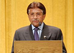 Former Pakistani president Pervez Musharraf speaks Friday at Augustana College in Sioux Falls, S.D.