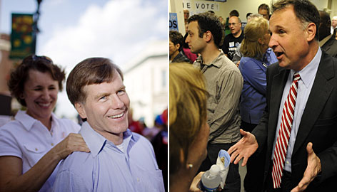 Republican gubernatorial candidate Bob McDonnell, left, gets some stress relief from masseuse and vendor Elizabeth Martorana at the Manassas Fall Jubilee in Manassas, Va., on Saturday. Democrat Creigh Deeds, right, speaks at the opening of a campaign office in Falls Church, Va., last week.