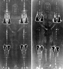 An archive negative image of the Shroud of Turin, left, is shown next to one recreated by an Italian scientist using materials and techniques that were available in the Middle Ages and released in Pavia Oct. 5.