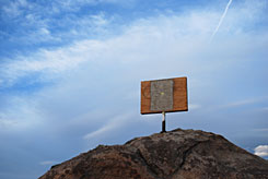 "A plywood-covered memorial known as the ""Mojave Cross"" sits on Sunrise Rock in the Mojave National Preserve, in Calif. The cross has been covered in plywood for the past several years following federal court rulings that it violates the First Amendment prohibition against government endorsement of religion."