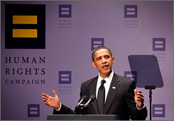 President Obama addresses the 13th Annual National Dinner of the Human Rights Campaign on Saturday night in Washington.