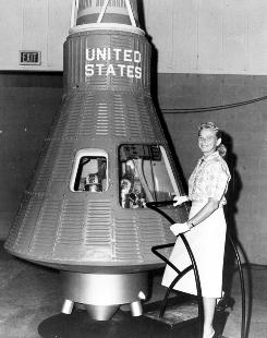 Jerrie Cobb poses next to a Mercury spaceship capsule. She passed all training exercises, ranking in the top 2% of all astronaut candidates of both genders, yet she, who was among 24 other &quot;First Lady Astronaut Trainees,&quot; never flew in space.