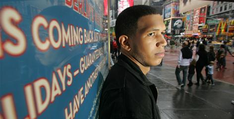 Three years ago, Antonio Rocha, now 20 in Times Square, was reading at a first-grade level. He is featured in the new book Why Can't U Teach Me 2 Read? The school system failed to determine what Antonio later discovered, that he had dyslexia.
