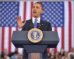President Obama speaks during a town hall meeting Thursday at the University of New Orleans in New Orleans.