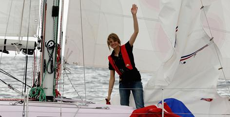 Jessica Watson sets sail on her yacht  on Sunday in Sydney, Australia.