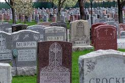 Crowded headstones mark the graves that nearly fill the Belmont Cemetery in Belmont, Mass.