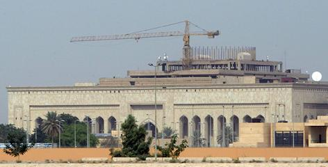 The U.S. Embassy in Baghdad is shown under construction in late 2007. State Department auditors say