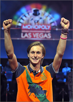 Bjorn Halvard Knappskog, of Oslo, celebrates after winning the 2009 Monopoly World Championships at Caesar's Palace in Las Vegas.