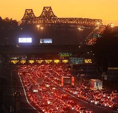 Traffic backs up on the Bay Bridge approach following a bridgework failure Tuesday in Oakland