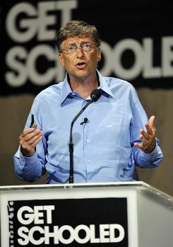 "Microsoft co-founder Bill Gates speaks at the ""Get Schooled"" conference hosted by the Bill & Melinda Gates Foundation and Viacom in Los Angeles. The foundation has spent around $200 million a year on grants to schools."