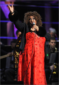 Aretha Franklin performs onstage at the 25th Anniversary Rock & Roll Hall of Fame Concert at Madison Square Garden on Oct., 30, in New York.
